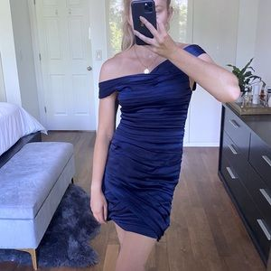 ALICE AND OLIVIA Navy Satin Cocktail Dress